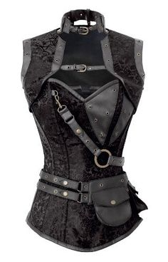 Corset Super Store Women's 1294 Black Steampunk Corset - Black Brocade steampunk corset with faux leather trim, include jacket and belt pouch. Price: $114.99 - $124.99