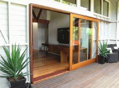 Timber Sliding Doors will create space to make the best use of your living, dining or office area. External Sliding Doors, Timber Sliding Doors, Sliding Door Design, Timber Door, Sliding Barn Door Hardware, Sliding Glass Door, Glass Doors, Door Hinges, Wooden Glass Door