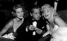 Lauren Bacall, Humphrey Bogart e Marilyn Monroe na première