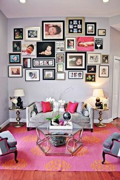 Lovely Pink Sofa Pillows Enhancing Seating Beauty: Comfortable Contemporary Living Room Interior Design With Pink Sofa Pillows Used Grey Fab. Room Interior Design, Living Room Interior, Living Room Decor, Living Rooms, Photo Table, Decoration Photo, Photo Deco, Family Room Design, Family Rooms