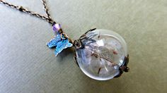 Dandelion seed necklace Butterfly  Dried  Real flower   jewelry   Make a wish   Botanical pendant   Eco friendly  Bridesmaid gift