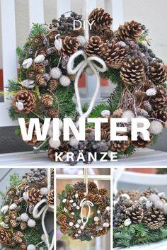 Selbstgebundene Winterkränze  mit Zapfen und Beeren. DIY winter wreaths with pine cones