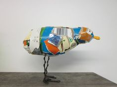 Recycled Trash Bird Sculpture Seven by CharestStudios on Etsy, $36.00