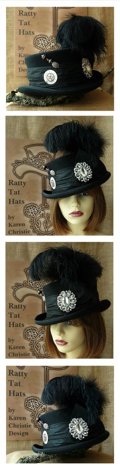 Ladies Black Steampunk Deadman or Low Crown Top Hat - The Minstrel. One of a kind handmade design currently available from website at £95.00 + P&P