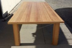Wide table constructed from up-cycled oak flooring with box construction legs. Raw Furniture, Rustic Furniture, Furniture Making, Oak Flooring, Mortise And Tenon, Farmhouse Table, Recycling, Dining Table, Construction