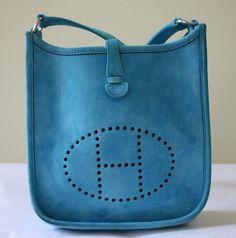 Rare HERMES Sky Blue Suede TPM Mini Evelyne Handbag with Dustbag. at Rice and Beans Vintage http://www.riceandbeansvintage.com/NewArrivals.html