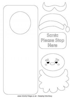 Santa Door Hanger  Different Free Printable For Kids To Color