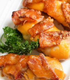 Chili's Monterey Chicken is marinaded chicken breast topped with cheddar cheese and wrapped in bacon.
