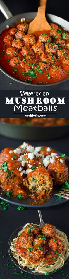 These soft and moist Mushroom Meatballs are simple to prepare and make a perfect vegetarian dinner!COM These soft and moist Mushroom Meatballs are simple to prepare and make a perfect vegetarian dinner! Veg Recipes, Whole Food Recipes, Cooking Recipes, Healthy Recipes, Recipes Dinner, Mushroom Recipes, Flour Recipes, Turkey Recipes, Easy Recipes