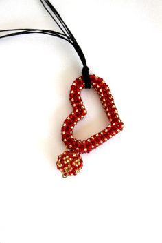 Heart Pendant Necklace Red Beaded Heart Necklace by hobitique