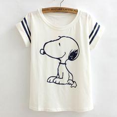 poleras de mujer Loose camisetas t shirts women Flag snoopy Vintage harajuku…