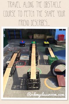 EYFS shape description game - The children take turns at describing a shape to their friend, who then has to attempt to name the shape and travel along the obstacle course to fetch it.