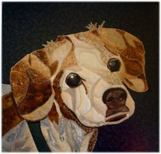 Custom Fabric Pet Portrait  Britta by ArtQuiltsbyGretchen on Etsy, $80.00