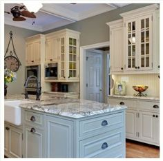Love the island is a different color than the cabinets. creekside green benjamin moore | Baby Turtle, Benjamin Moore