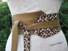 Old ties upcycled into a kimono style belt Diy Clothing, Sewing Clothes, Cinto Obi, Old Ties, Tie Crafts, Obi Belt, Sewing Hacks, Sewing Tutorials, Creation Couture