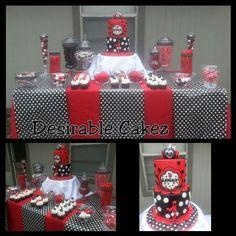 Ladybug Cake & Candy Table Ladybug 1st Birthdays, Ladybug Cakes, Owl Cupcakes, Edible Arrangements, Chocolate Art, Candy Table, Fruit Garden, Fruit Art, Edible Art