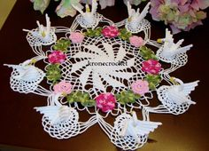 Floral crochet doily with swans-holiday doily by KroneCrochet