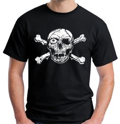 Velocitee Mens T Shirt Skull & Crossbones Pirate Goth Horror Zombie Biker V183 #Velocitee