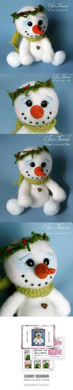 Chubby Snowman amigurumi pattern by Elfin Thread