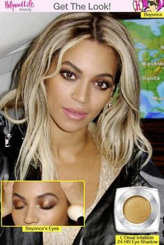 Beyonce had a winning look as she wore a sexy gold mini dress and gold and bronze glitter eyeshadow on Jan. Get her beauty look below! Beauty Makeup, Eye Makeup, Hair Makeup, Hair Beauty, Makeup Emoji, Makeup Stuff, Makeup Items, Beyonce Makeup, Beyonce Style