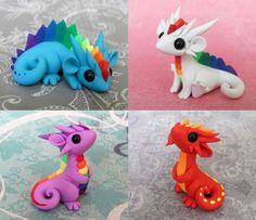 I call them scrap dragons because they are made from all the random leftover bits of clay from past projects. I have tons of little balls of clay stored. Sculpey Clay, Polymer Clay Kunst, Polymer Clay Dragon, Polymer Clay Animals, Cute Polymer Clay, Cute Clay, Polymer Clay Projects, Polymer Clay Charms, Polymer Clay Creations