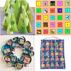 9 Advent Calendars To Make  I love the cookie one, but would worry they may be stale by Christmas.