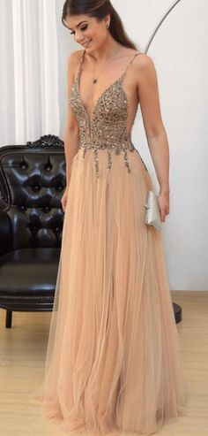 Cheap prom dresses Champagne Prom Dress, V-neck Evening Gowns,Tulle Prom