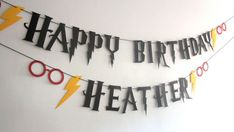 Harry Potter Party, Harry Potter Banner, Wizard Party, Birthday Banner, Spectacles, Hermione, Lightening Bolt, You Choose Colors, Gryffindor