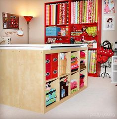 Fabric cutting/storage & pattern tracing patty young's sewing room
