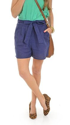 ShopBlueDoor.com: Navy shorts with bow front $34