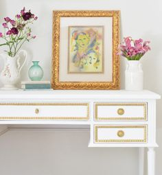 pure white chalk paint and metallic gold combo ave home colette desk project