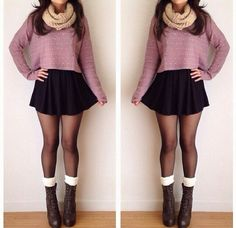 Outfit Idea | Long Sleeve Crop Top & Scarf. A Skater Skirt, Tights, Socks, & Heels/ Combat Boots.