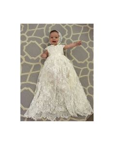 Sierra baby girl Lace long heirloom ivory christening baptism communal gown dress with cap sleeves scallop hem tulle and beaded waistband