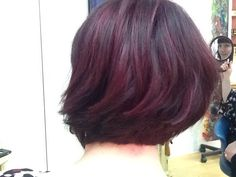 Purple red color and layered bob!