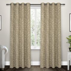6aec7a9365e Baillons Nature Floral Room Darkening Thermal Grommet Curtain Panels