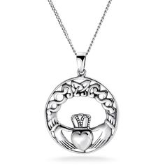 Bling Jewelry Bling Jewelry Sterling Silver Celtic Knot Claddagh... ($26) ❤ liked on Polyvore featuring jewelry, necklaces, silver tone, crown pendant necklace, heart necklace, pendant necklace, sterling silver pendant necklace and vintage necklace