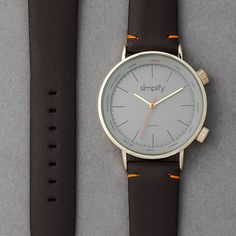 Simplify The 3300 Leather-Band Watch with World Time Zones #BestWatches, #retro, #stylish