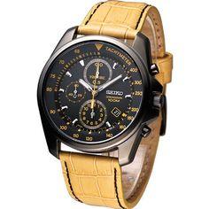 SEIKO Men Pilot Aviator Chronograph Watch Black Yellow SNDD69P1