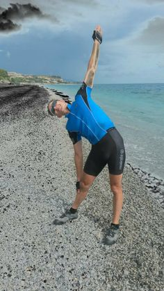 A good time to stretch at the end of a 1200 mile bike ride ha  ....pictured here is Martin Nichols at the end of his end to end Italy cycling challenge doing a Triangle Pose for the album at Melito di Porto Salvo,Southern Italy ..   www.bevsfitness.co.uk