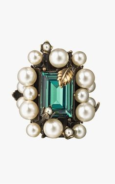 Gucci ring with crystal and pearls, $875.