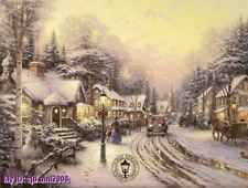 """Handicrafts Art Repro oil painting:Foothill Village Christmas 24x36"""""""