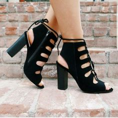 Shoes, black, strappy, heels