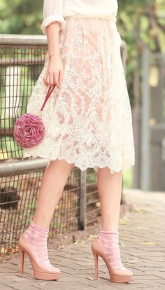 What a pretty lace skirt.