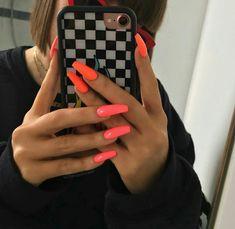 Victoria on International Hot Girl and Bikini Coral . Neon Pink Nails, Bright Summer Acrylic Nails, Best Acrylic Nails, Coral Acrylic Nails, Nail Summer, Perfect Nails, Gorgeous Nails, Stylish Nails, Trendy Nails