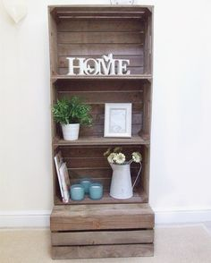 Rustic and versatile storage/display unit made from just four of our handmade wooden apple crates being stacked on top of each other. Wooden Apple Crates, Diy Wooden Crate, Wood Crates, Handmade Wooden, Wooden Crate Shelves, Crate Storage, Smart Storage, Storage Ideas, Book Storage