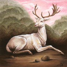 Giclee Print of Original White Fallow Deer Wood by TheFittingPiece, $12.50