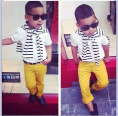 Early Swag yellow skinnies, nautical stripe shirt, loafers