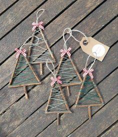 Twig Christmas Tree, Christmas Ornament Crafts, Christmas Crafts For Kids, Homemade Christmas, Christmas Projects, Christmas Fun, Holiday Crafts, Twig Crafts, Handmade Christmas Decorations