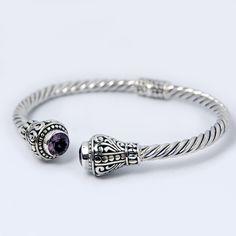 #Bali Designer Cuff Bracelet Faceted amethyst sterling silver