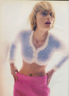 "Amber Valletta in "" Sweater Girl, "" shot by Craig McDean for W magazine June 1994 